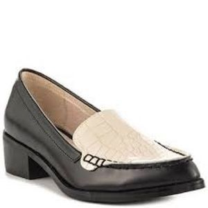 Solsana alligator loafers in black and white